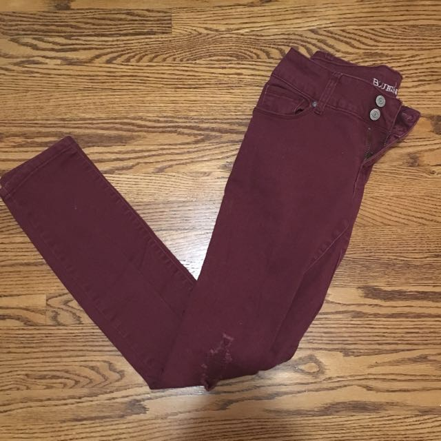 Burgundy Coloured Ripped Jeans From Bluenotes