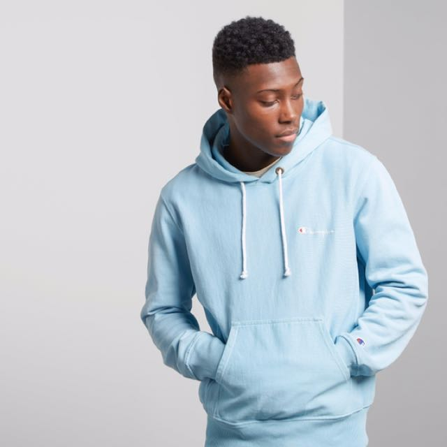 Hoodie co Blue Pullover Dyed Garment Champion Baby X uk Size nx1at