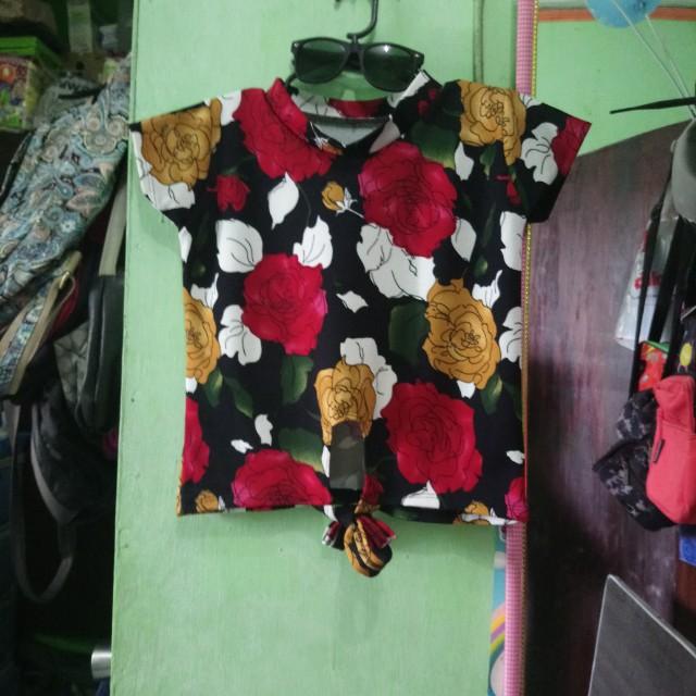 Crop tie down blouse