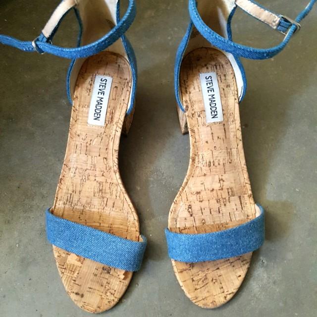 Denim Strappy Cork Sandal