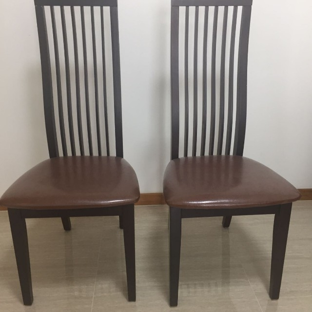 Dining Table Chairs - Brown Leather