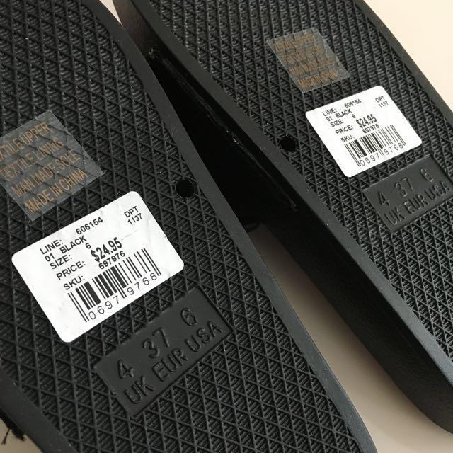 DOTTI Black Bow Pool Slides Sandals Size 6