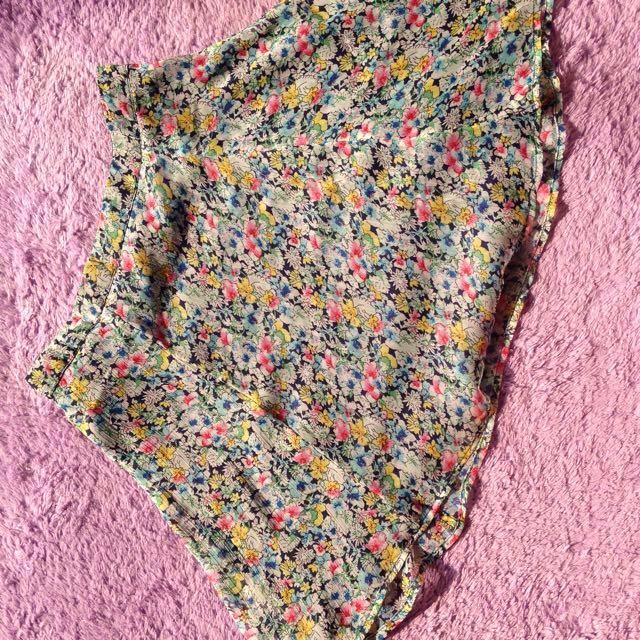 Flower mini flare skirt