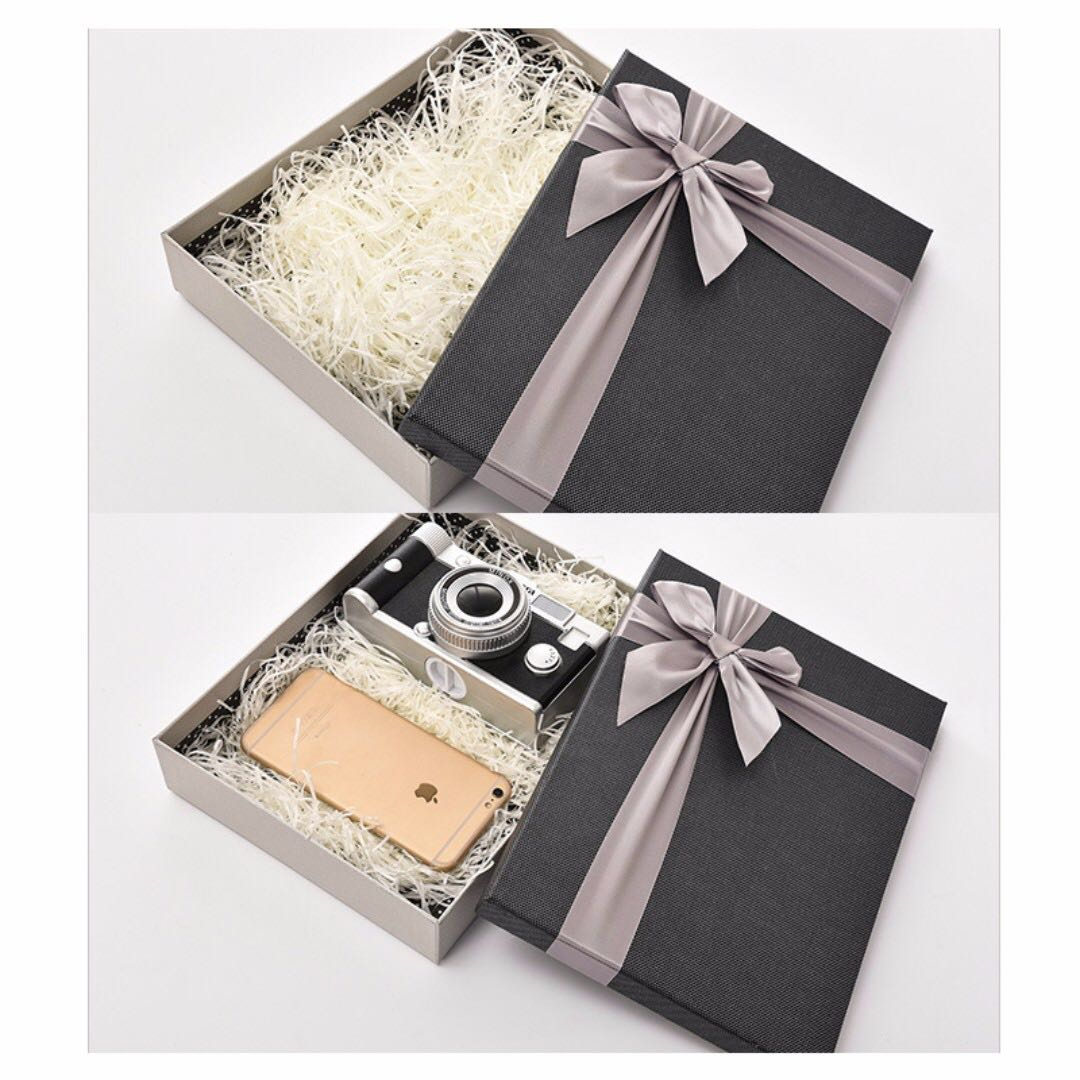 Gift Box Present Box Large Small Decorative Fancy Packaging Christmas Birthday With Lid Shirt Dress Silver Gray Blue