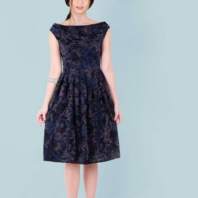 HTP Embossed Velvet Midi Dress