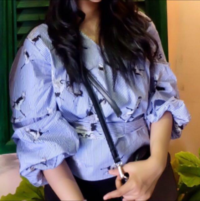Kimono bird shirt