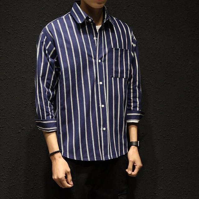 052f4b272c Korean dark blue and white striped long sleeved button up shirt, Men's  Fashion, Clothes on Carousell