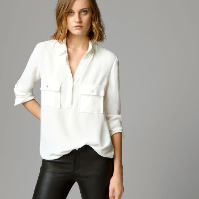 9168ab2673 MASSIMO DUTTI white mandarin collar long sleeve ladies women shirt ...