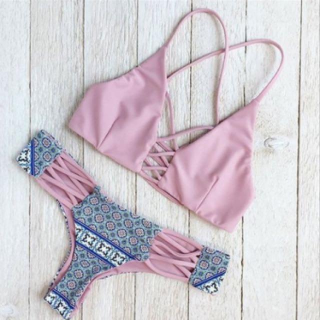 75e426ea1c Minimalist floral vintage strap bikini   swimming costume   beach ...