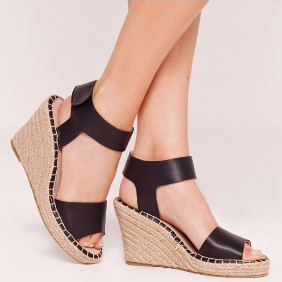 Missguided Black Wedged Sandals