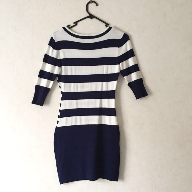 Navy and white sweater dress
