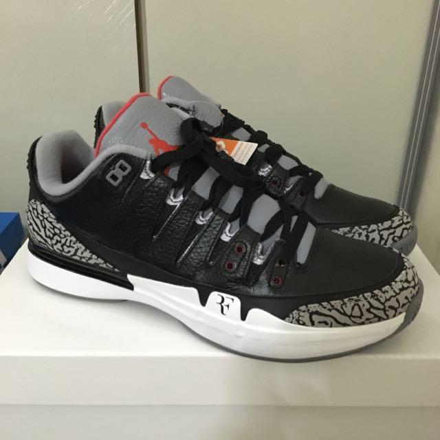 release date: 346a3 4cf73 Nike Vapor Air Jordan 3 Black Cement Roger Federer