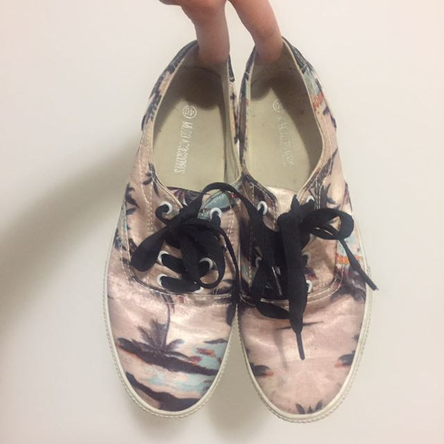 Palm trees rose gold sneakers