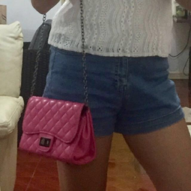 Pink Sling Bag w/ Metal Chain