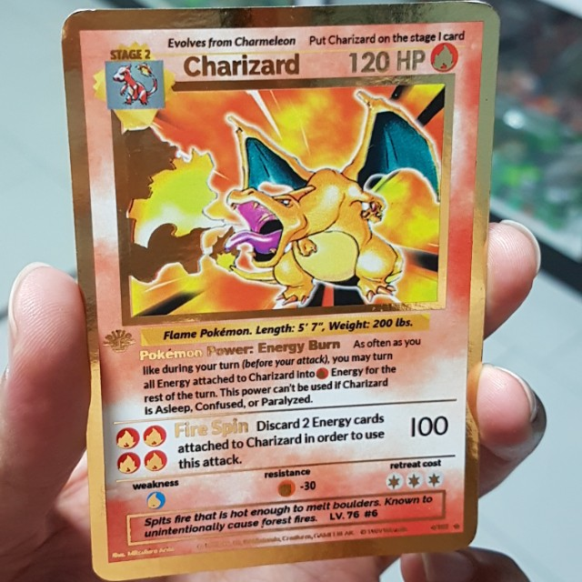 Pokemon Cards CUSTOM Charizard Gold Border First Edition