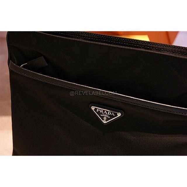 d18c726fa317fe ... new zealand prada bn1792 black vela nylon tessuto gaufre open top tote  0 prada messenger bag
