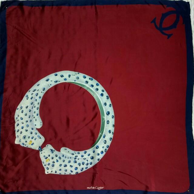 Preloved authentic cartier silk scarf
