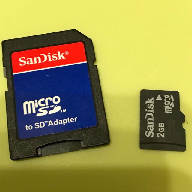 SanDisk Micro SD 卡 2GB 含轉接SD卡