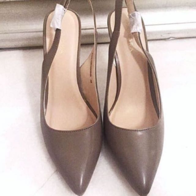 Sling Back Pumps Nude Taupe Formal Work High Heels Shoes From Zalora,  Women's Fashion, Shoes on Carousell