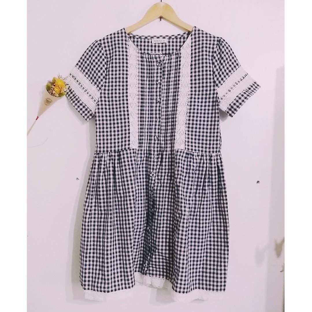 日本SM2自然系藍白格紋洋裝
