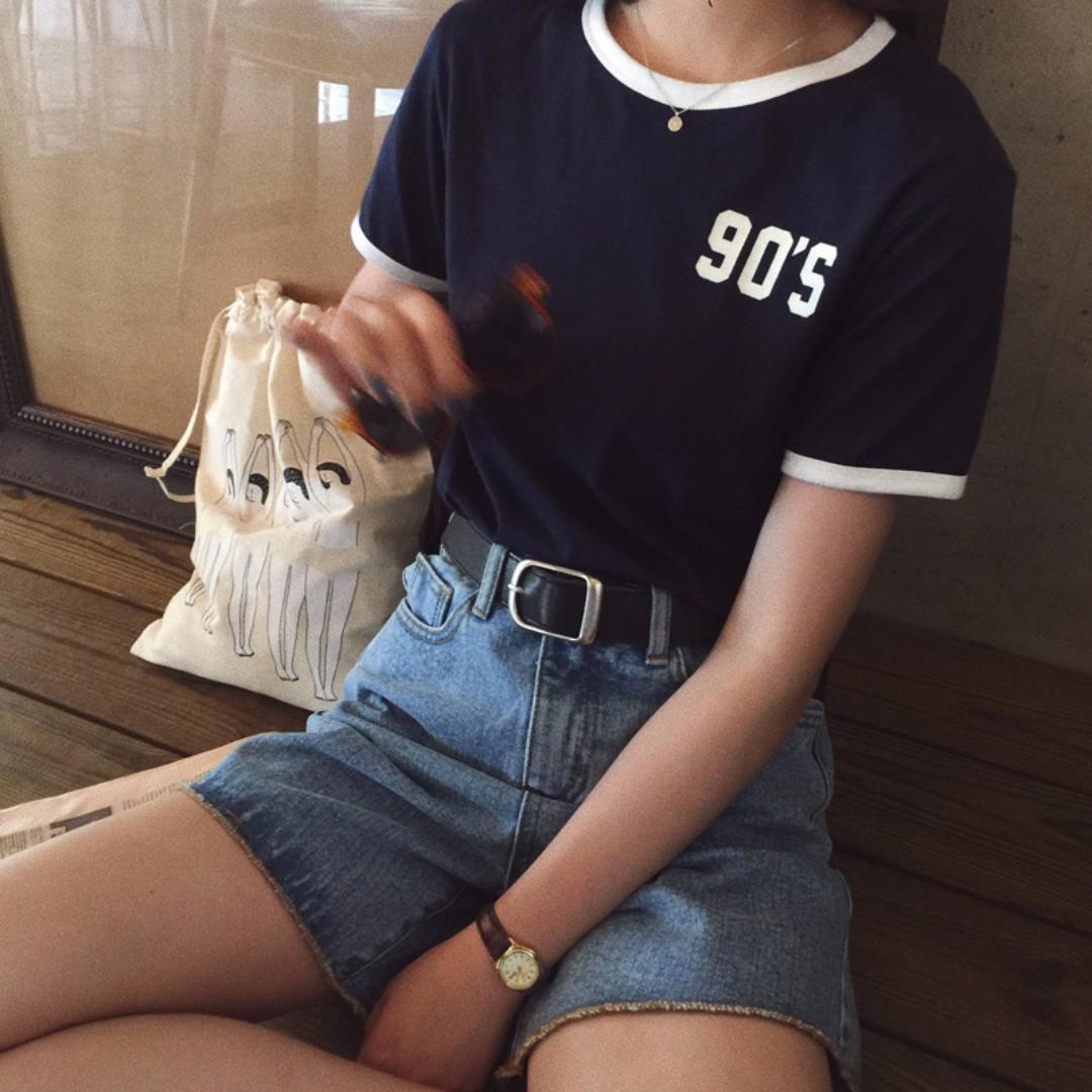 百搭短圓領撞色字母短袖T恤