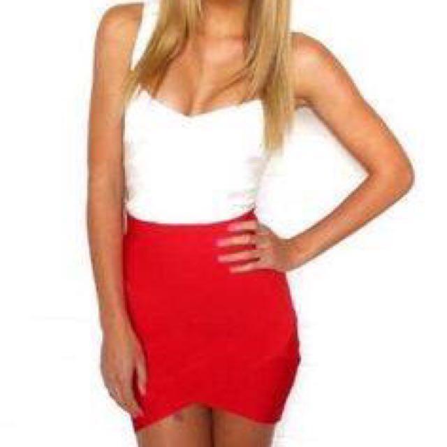 White Bandage crop and red bandage skirt