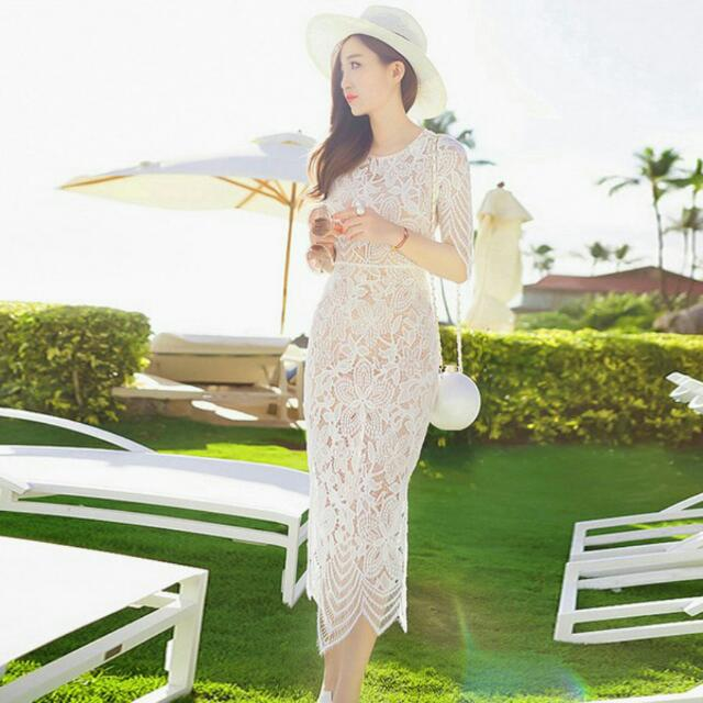 White Lace Korean Style Dress(14days)