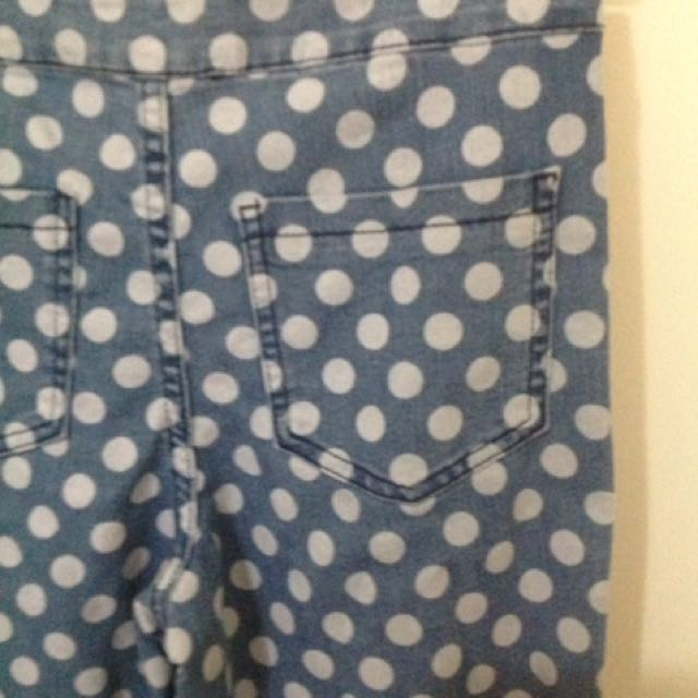 White Polka Dotted Blue Jeans | SZ:10