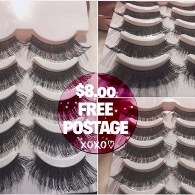 X5 PAIRS FALSE EYELASHES 🦋WISPY LONG + FULL VOLUME *FREE POST AUS WIDE*