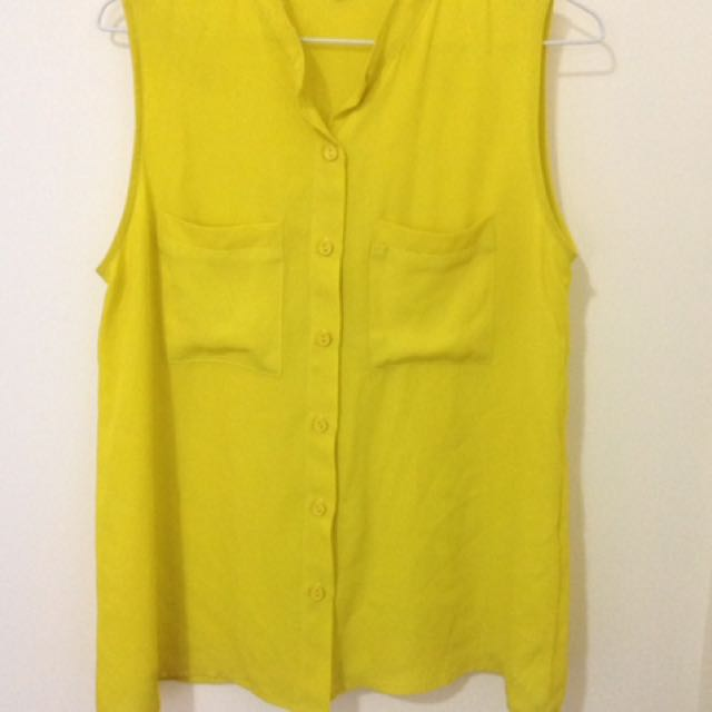 Yellow Sleeveless Button Up Top