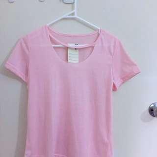 Sheer Pink Cut-out neck T- shirt