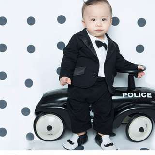 嬰兒男寶西裝滿月週歲慶生服(外套+包屁連身)