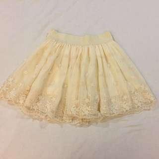 日 精緻 雙層 花朵紗裙 內裡有安全褲 不走光