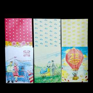 Whimiscal Wedding Ang Bao Red Packet Envelops on quality heavy art paper