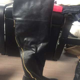Pleather knee high boots