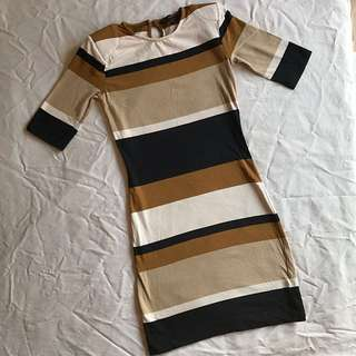 French Connection Multi-Jag Stripe 3/4 Sleeve Bodycon Dress