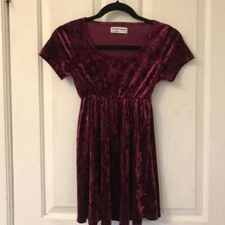 American Apparel Red velvet babydoll dress