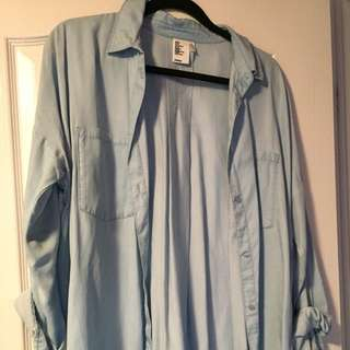 h&m mock denim button up