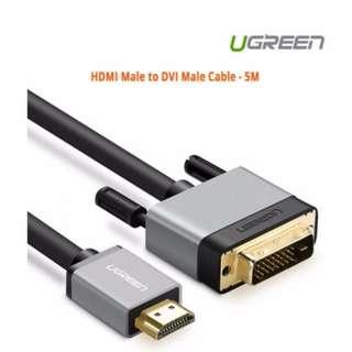 Ugreen HDMI Male to DVI Male Cable - 5M ACBUGN20889