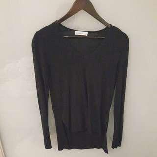 Zara knit side slit sweater navy