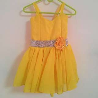 Yellow Bell Bundle-Gown, Headband,Shoes