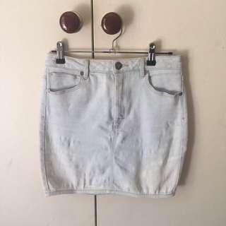 Abrand washed denim mini skirt