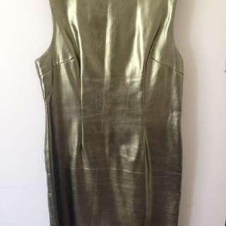 Mossman Metallic Olive Green Dress