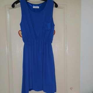 藍色雪紡無袖洋裝