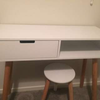White desk and stool