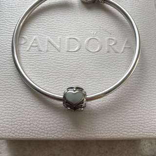 Pandora silver blue enamel hearts charm (retired)