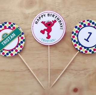 Sesame Street Theme Cupcake Toppers