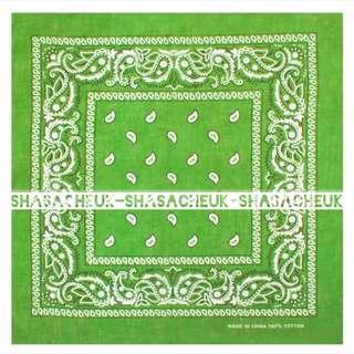 腰果花 方巾 頭巾 - 草綠色  Neckerchief / Headkerchief / Cravat / Kerchief  - Light Green Cashew flowers