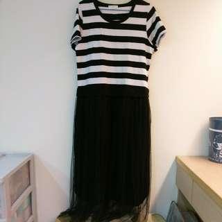 🚚 【全新】條紋連身紗裙