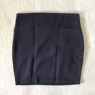 Cotton On Navy Blue Textured Bandage Skirt